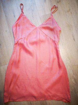 *NEU* Zara Mini Träger Kleid Koralle tiefer Rückenausschnitt Sommer Gr. L