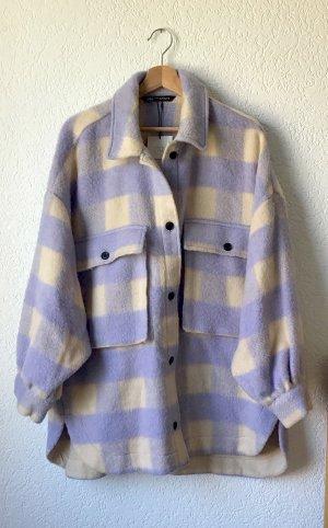 Zara Lumberjack Shirt oatmeal-purple polyester