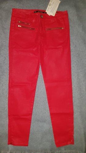 NEU ZARA Slim Fit HOSE Rot beschichtet Leggings