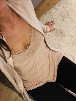 Zara Top di merletto color carne-albicocca