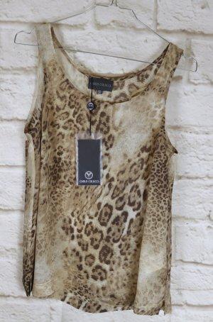 Neu Zates Top Shirt Sommer Carlo Colucci Größe 38 M Leo Print Kreppchiffon Braun Beige Transparent Animal Print Viskose