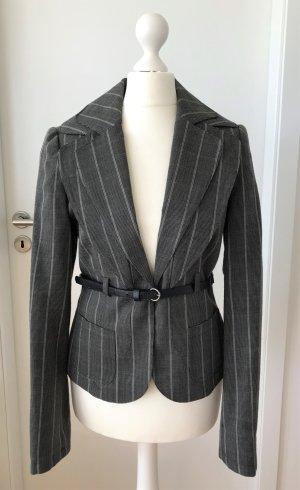NEU Zero Blazer S 36 Damen Jacke Anzug Business Sakko Gestreift Herbst Gürtel