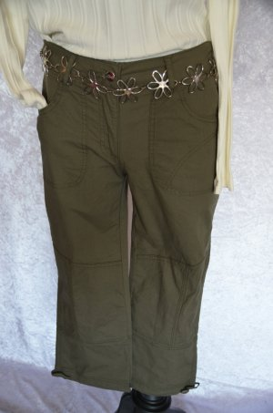 Cheer 7/8 Length Trousers khaki-olive green cotton