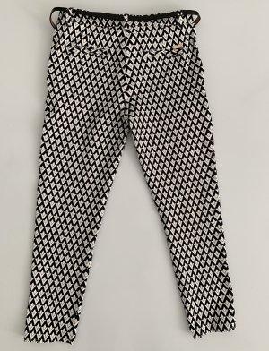 7/8 Length Trousers black-white cotton