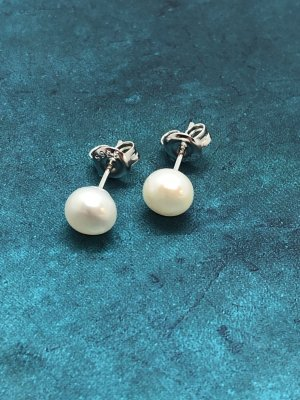 Pearl Earring silver-colored-blue