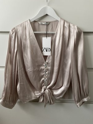 Neue beige Creme silberne chamangner schicke Bluse von Zara S 36