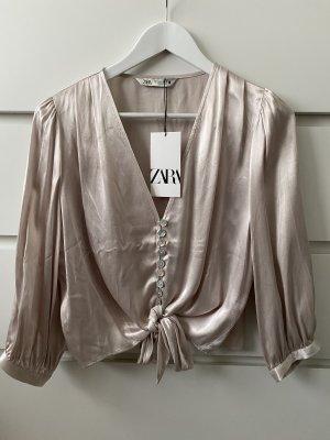 Neue beige Creme silberne schicke Bluse von Zara S 36