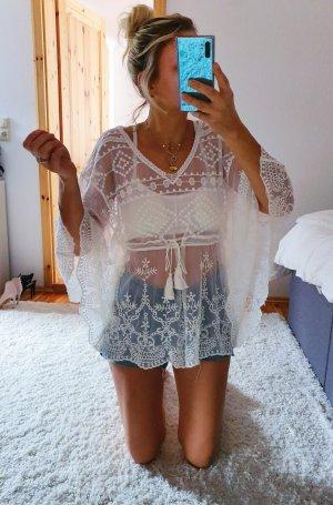 NEUE Bluse Cover Up Sarong Lace Spitze Stickerei Lochstickerei