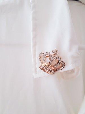 NEUE Bluse mit strassbesetzen Kronen am Kragen Trend Blogger Musthave