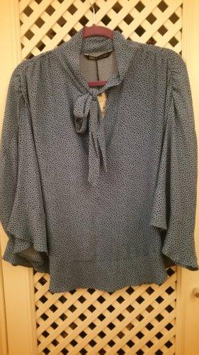 Zara Tie-neck Blouse black-cornflower blue
