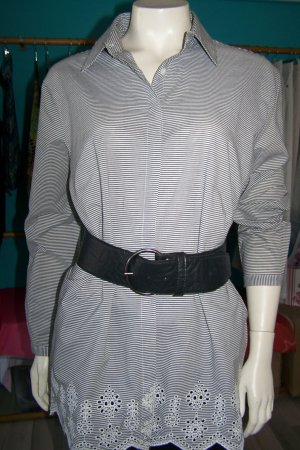 Bodyflirt Long Blouse grey-white cotton