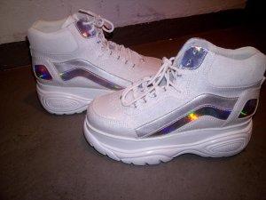 Buffalo Platform Boots white-silver-colored