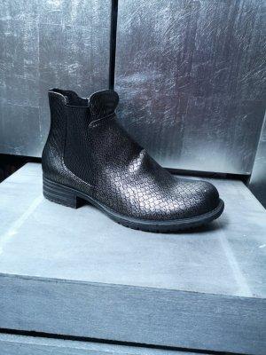 Neue Bullboxer Chelsea Boots Metallic Effekt Gr 37 silber Schlangenleder Stiefeletten Ankle Boots grau schwarz