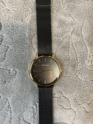Burker Orologio con cinturino di metallo nero-giallo-oro