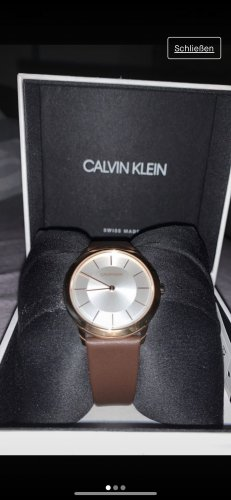 Calvin Klein Watch With Leather Strap brown