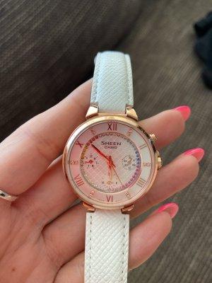 Casio Zegarek ze skórzanym paskiem biały-złoto
