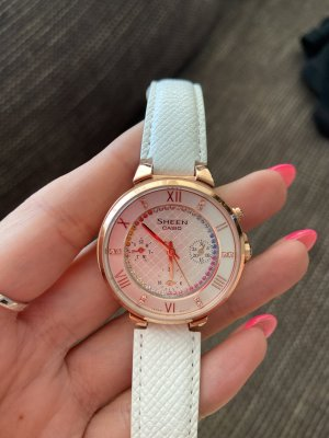 Casio Watch With Leather Strap white-gold-colored