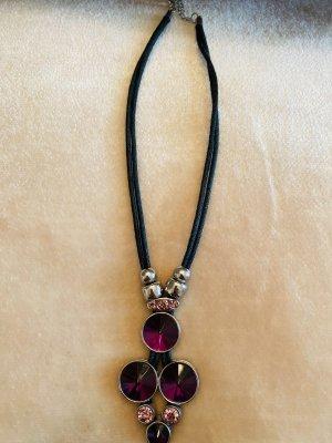 Naszyjnik różowy-fiolet