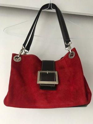 Neue Designer Tasche im Retro Stil Schnalle Rauleder Blutrot