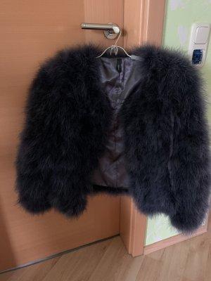Soyaconcept Futrzana kurtka czerwona jeżyna-antracyt