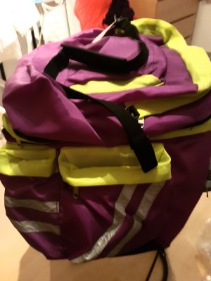 Borsa da viaggio giallo neon-viola