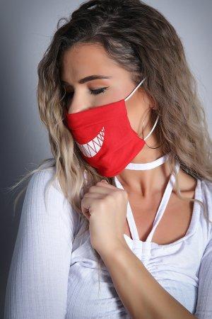 Neue Feinstaubmaske / Staubmaske - Atemschutzmaske /Mundschutz - Gesichtsschutz Maske rot mit Motiv