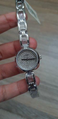 neue Fossil Uhr mit Steinen silber