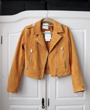 Neue gelbe Lederjacke von Mango Größe M 38