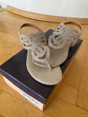 Sandalo toe-post grigio chiaro Pelle