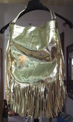 Neue goldfarbene Leder Handtasche