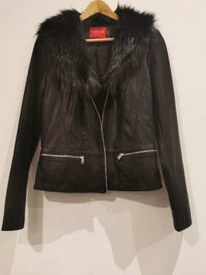 Neue Guess Jacke Leder Imitat mit Fellkragen