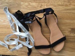 Neue Hallhuber Gladiator Binde Sandalen schwarz weiß neu 41