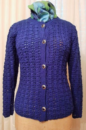 ART SHOP Cardigan en crochet bleu acrylique