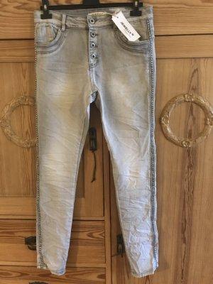 Workowate jeansy szary Bawełna