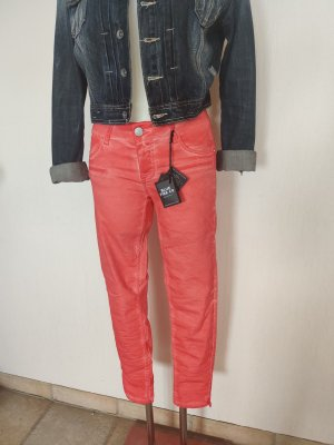 Blue Fire Pantalon cigarette orange tissu mixte