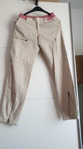 Pantalón de lino beige claro-rosa