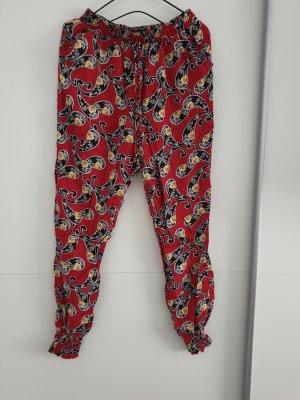 Pantalon large noir-rouge