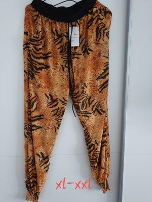 Pantalon large noir-brun