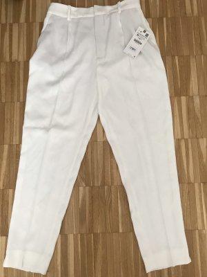 Zara Pantalón de pinza alto blanco