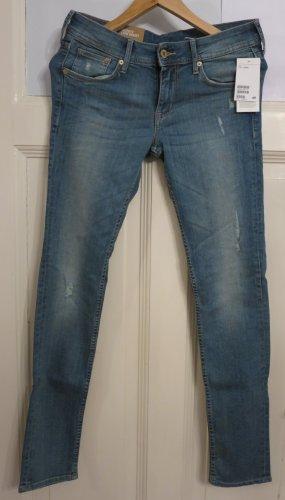 Ware Denim. Pantalón de tubo azul acero-azul aciano Algodón