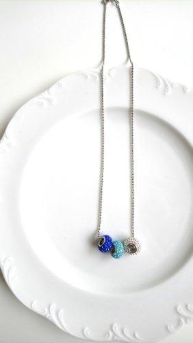 Neue Kette 925 Silber gestempelt mit blauen Kugeln