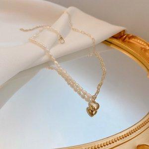 Neue Kette echte Barock Perlenkette mit goldenem Herz