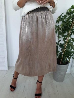 Pleated Skirt gold-colored-grey brown