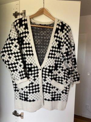 Kookai Cardigan à manches courtes blanc-noir coton