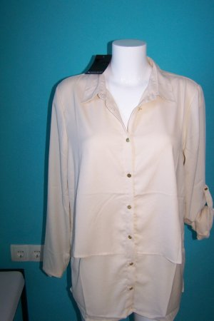 Laura Scott Long Blouse cream polyester