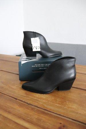 Neue Leder Stiefeletten von Zara Größe 37 spitz