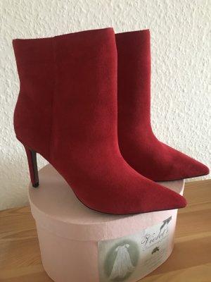 Neue Lederstiefeletten Ankle Boots von Topshop Echtleder Gr. 36 rot ungetragen Weihnachten Party Blogger Influencer