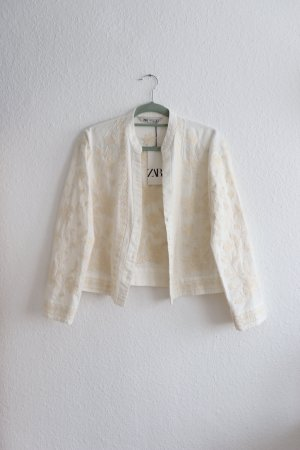 Neue leichte Leinen Jacke Blazer mit floraler Blumen Stickerei von Zara Größe M 38