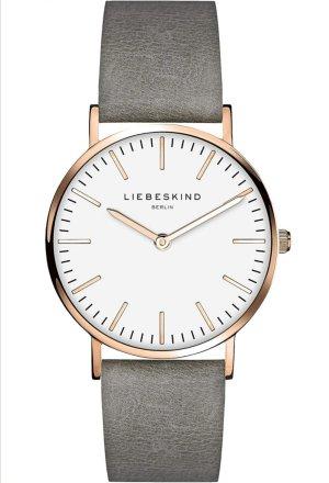 Liebeskind Montre avec bracelet en cuir or rose-gris