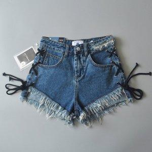 Neue Luxus Hot Pants AG Jeans mit Schnürung